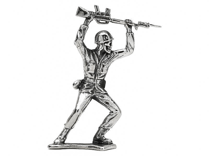 Skull Face Charging M16 Silver Army Man