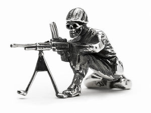 Skull Face Machine Gunner Silver Army Man