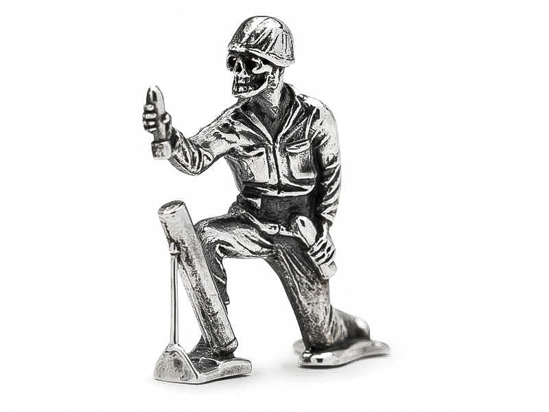 Skull Face Mortar Silver Army Man