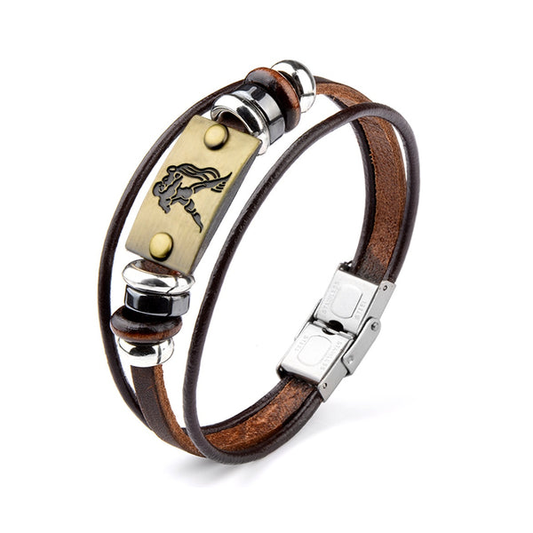 Aquarius water bearer sign leather bracelet