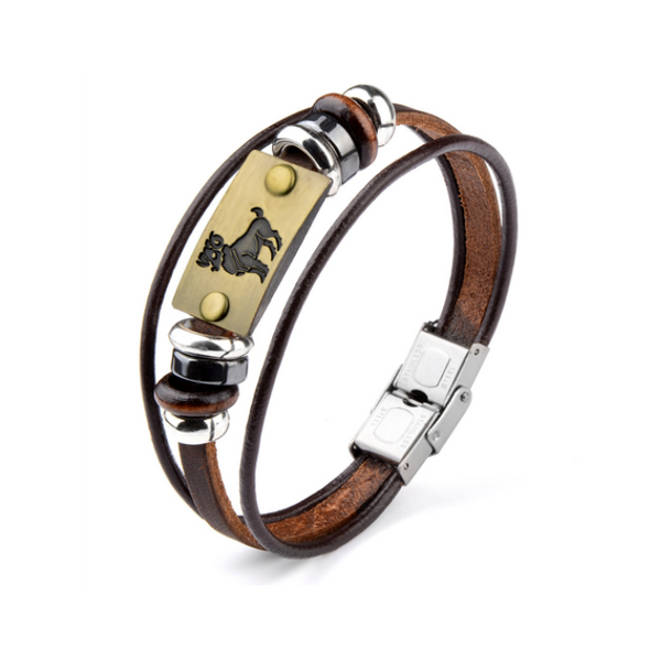 Aries Leather Bracelet for men