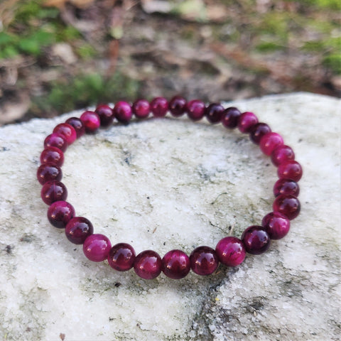 Rose Red Tiger Eye Gemstone Bracelet