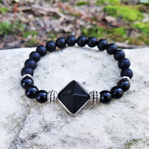 Tibetan Black Agate Pyramid Luxury Mens Bracelet | Birthday Gift set