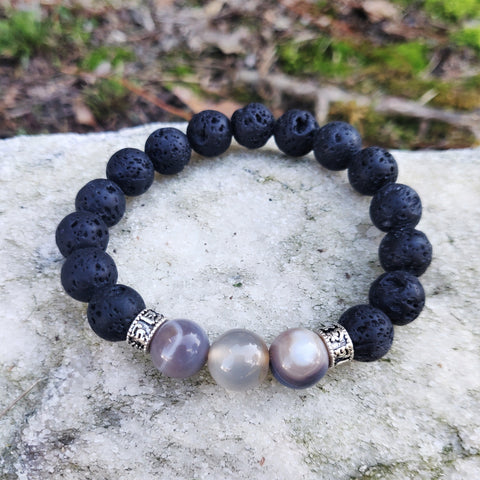 Lava stone Constellation yoga bracelet