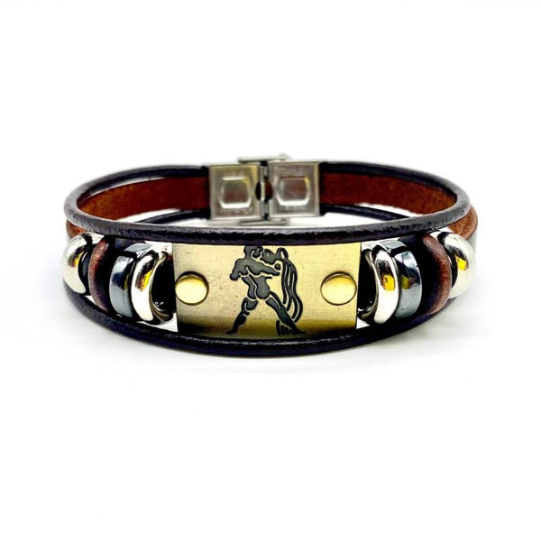 Water bearer sign engraved Aquarius leather Bracelet