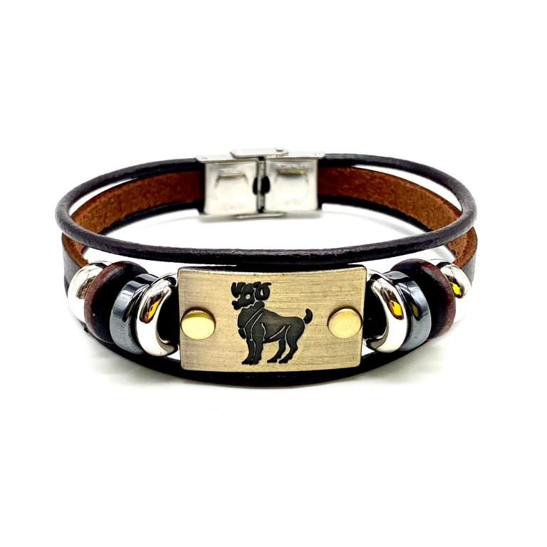 Ram Engraved aries Bracelet Leather