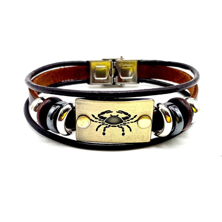 Cancer Leather Bracelet