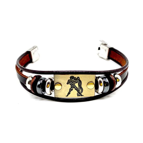 leather bracelet Aquarius men