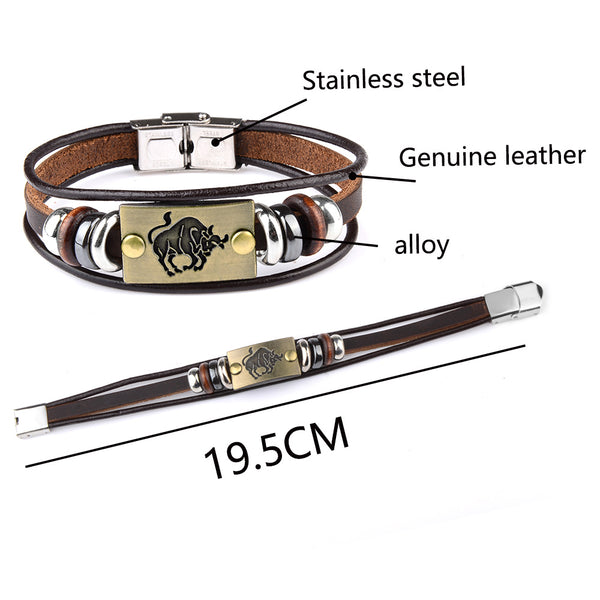 Leather Bracelet for men taurus
