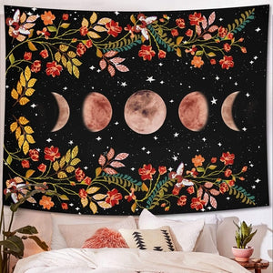 Open image in slideshow, Floral Moon Tapestry
