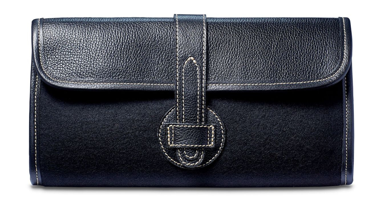 Adrian Clutch - Wool Blend - Black