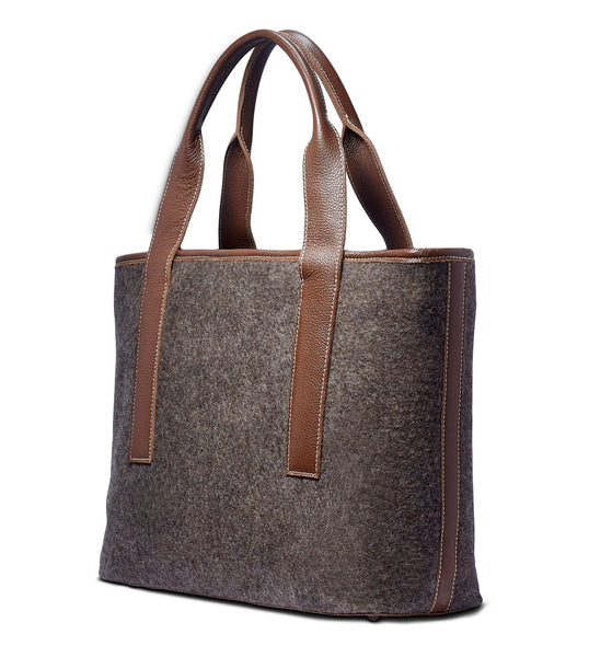 Alice Tote - Grey Wool Blend - Brown