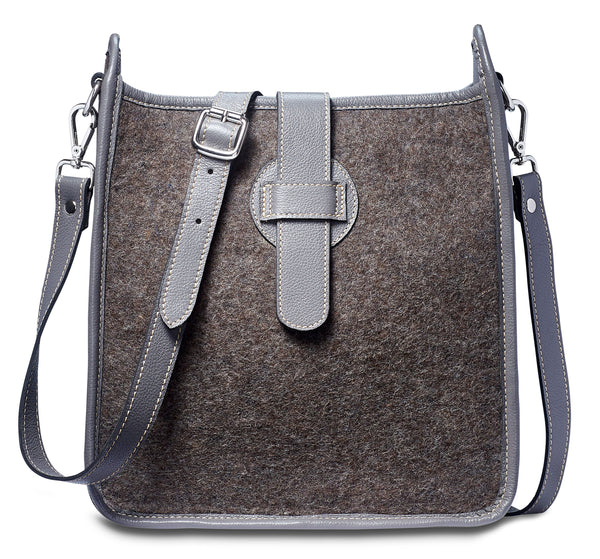 Bailey Crossbody - Wool Blend - Grey