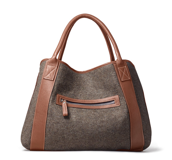 Michelle Tote - Grey Wool Blend / Brown Leather