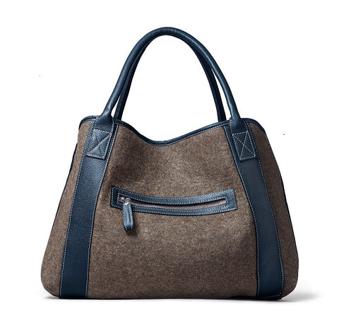 Michelle Tote - Grey Wool Blend/ Navy Leather