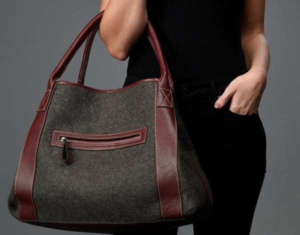 Michelle Tote - Grey Wool Blend / Grey Leather