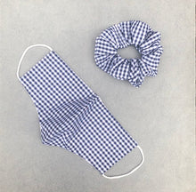 Load image into Gallery viewer, Blue Gingham Face Mask and Scrunchie