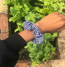 Load image into Gallery viewer, Blue Gingham Scrunchie
