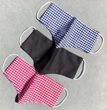 Load image into Gallery viewer, Childrens Face Mask in Blue Gingham, Red Gingham and Black