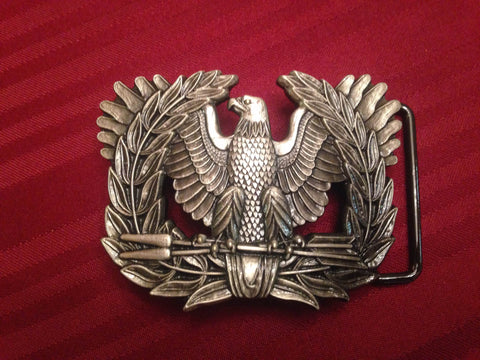 BURNT STAINLESS WARRANT OFFICER BELT BUCKLE