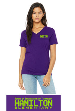 Ladies V Neck Short Sleeve Spirit Shirt - Ringspun Cotton