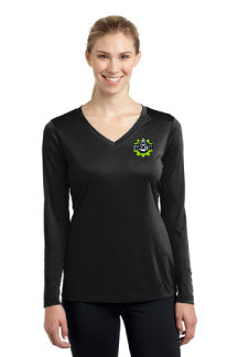 Ladies Long Sleeve Poly V Neck with Hamilton left chest embroidery