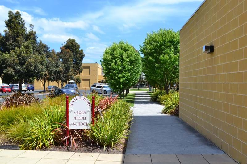 A photo of the stunning gardens at Haileybury College which showcase the quality wholesale plants that Dinsan Nursery produces.