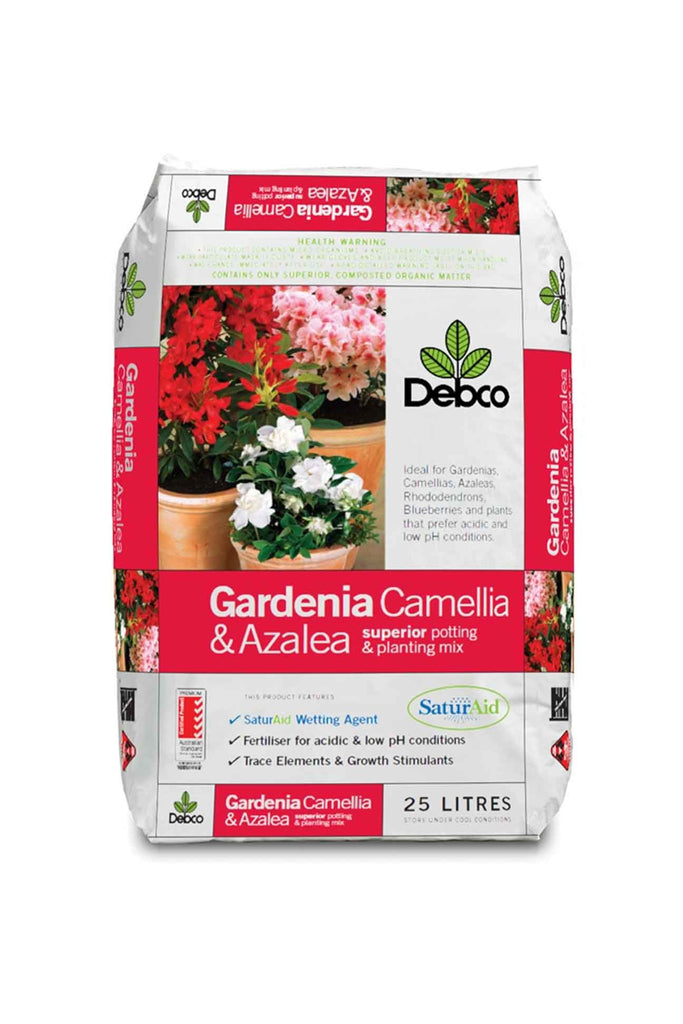 a bag of Debco Gardenia, Camellia & Azalea - Superior Potting & Planting Mix