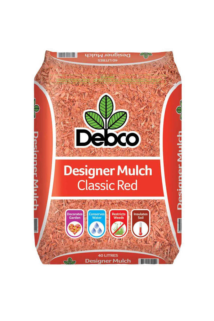 a bag of Debco Classic Red Designer Mulch