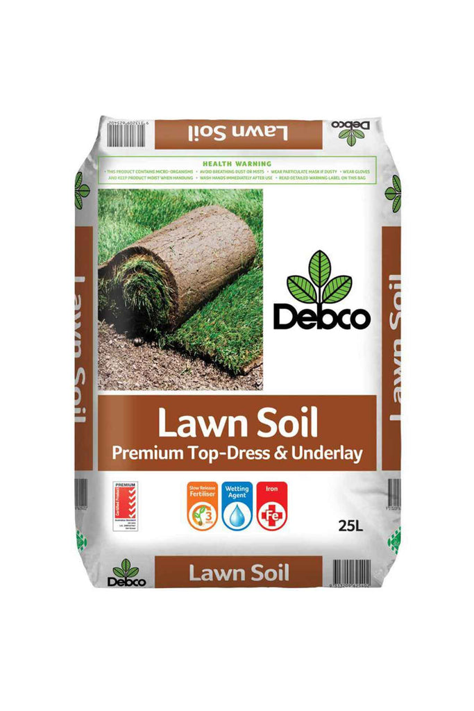 a bag of Debco Lawn Premium Top-Dress and Underlay