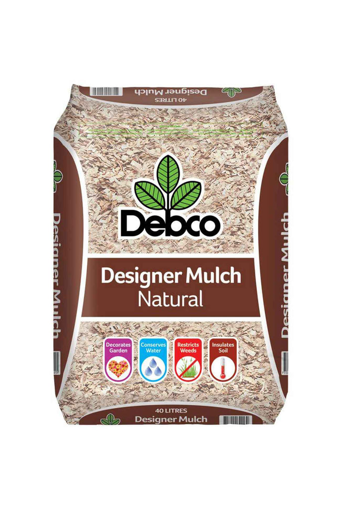a bag of Debco Natural Designer Mulch