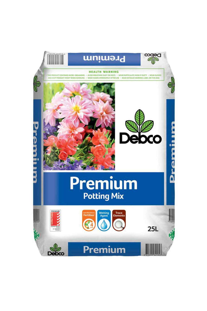 a bag of Debco Premium Potting Mix 25l