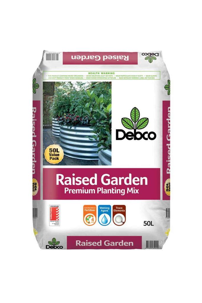 a bag of Debco Raised Garden Bed Premium Planting Mix