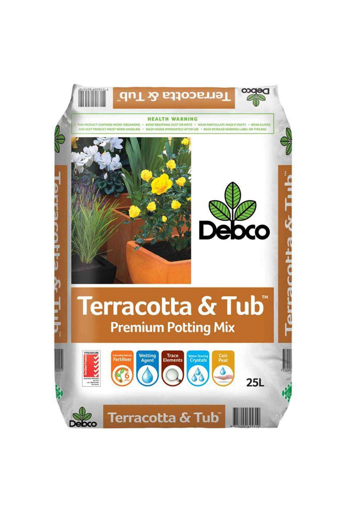 a bag of Debco Terracotta and Tub Premium Potting Mix 25l