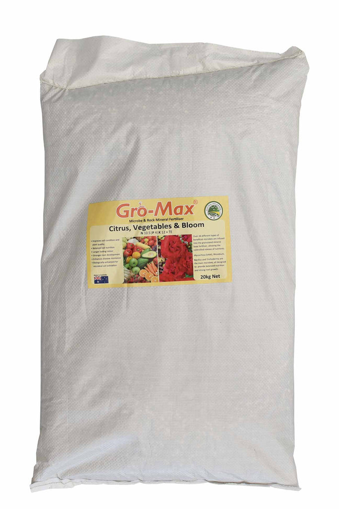 Gro-Max - Citrus, Vegetable and Bloom Microbe and Rock Mineral Fertiliser 20kg bag