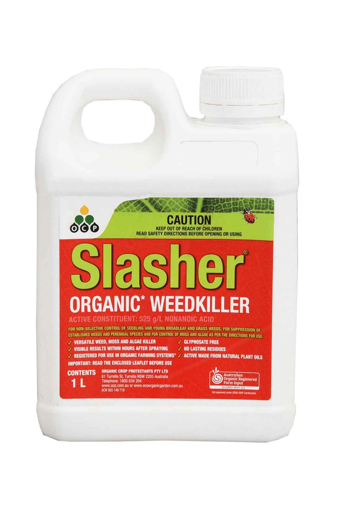 A bottle of Slasher Organic WeedKiller - 1 Litre