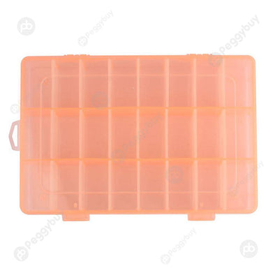 Adjustable 24 Compartment Plastic Storage Box Jewelry Earring Case Orange