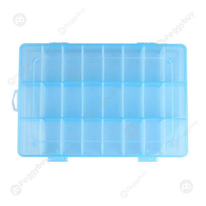 Adjustable 24 Compartment Plastic Storage Box Jewelry Earring Case Blue