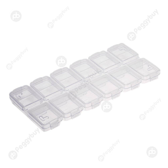 12 Grids Tool Jewelry Storage Box Portable Mini Kit Double Rows Box Display
