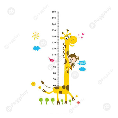 Cartoon Giraffe Height Stickers Wall Stickers Kindergarten Kids Room Decor