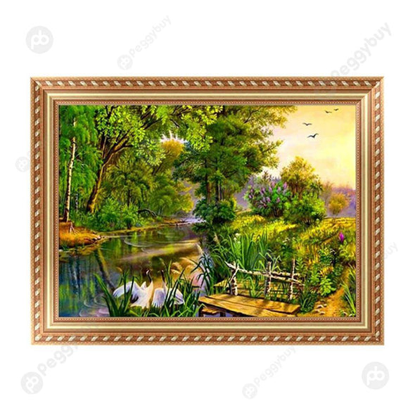 40*30CM Round Drill Diamond Painting-Landscape