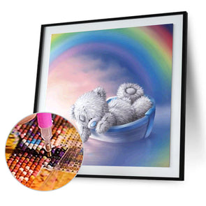 30*30CM Round Drill Diamond Painting-Cartoon Bear