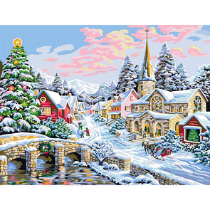 40*50CM Paint By Numbers-Snow Town