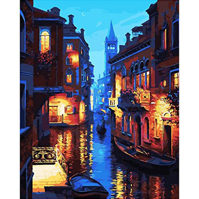 40*50CM Paint By Numbers-Night Water Town
