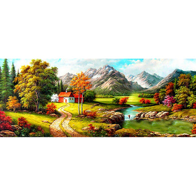 100*50CM Round Drill Diamond Painting-Quiet Village