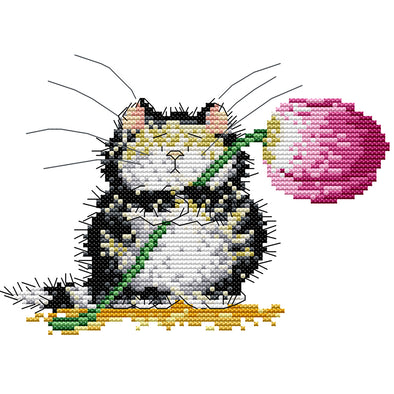 21*17CM Cross Stitch-Kitten Giving Flowers