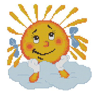 19*19CM Cross Stitch-Smile Sun