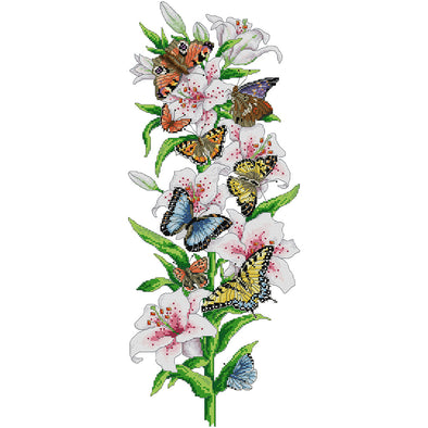 27*57CM Cross Stitch-Butterfly Flowers