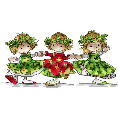 27*14CM Cross Stitch-Three Dancing Little Girls