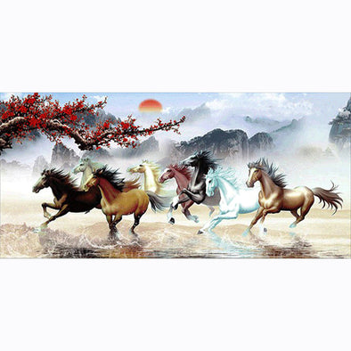 100*50CM Round Drill Diamond Painting-Nine Running Horses